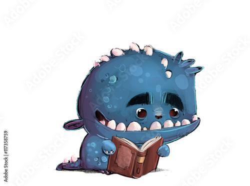 Fotografía  monstruo leyendo un libro