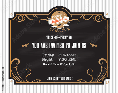 Vector Halloween Invitation Card To Party With Vintage