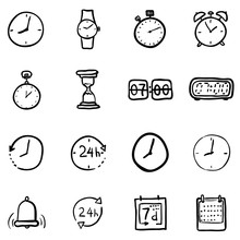 Vector Set Of Black Doodle Time Icons