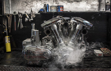 Motorbike engine in smoke