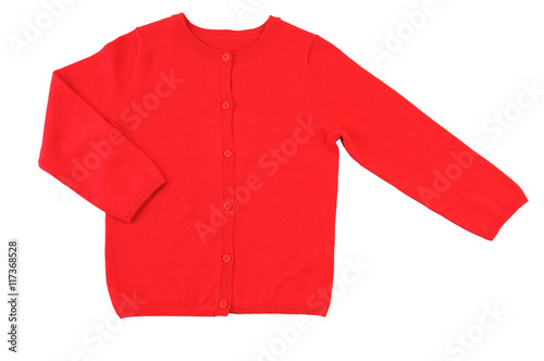 Pinturas sobre lienzo  Trendy red cardigan. Isolated on a white background