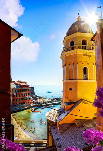 Photo  art View of Romantic Seascape in Vernazza, Cinque Terre, Liguria