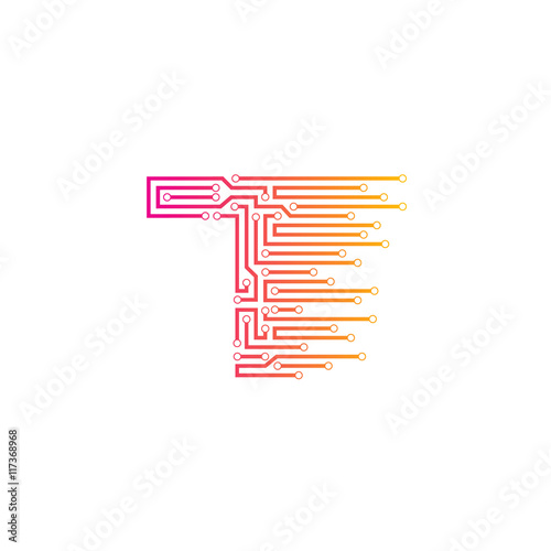 Letter T logo design template,technology,electronics,digital ...