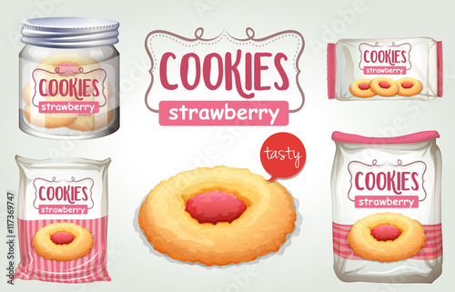 Photo Set of strawberry cookies in different packages