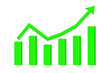 Financial statistic indication arrow. Up rising trend. Green