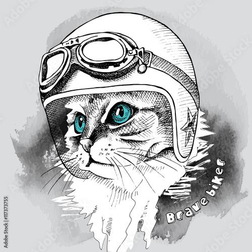 Image cat portrait in retro motorcycle helmet. Vector illustration.