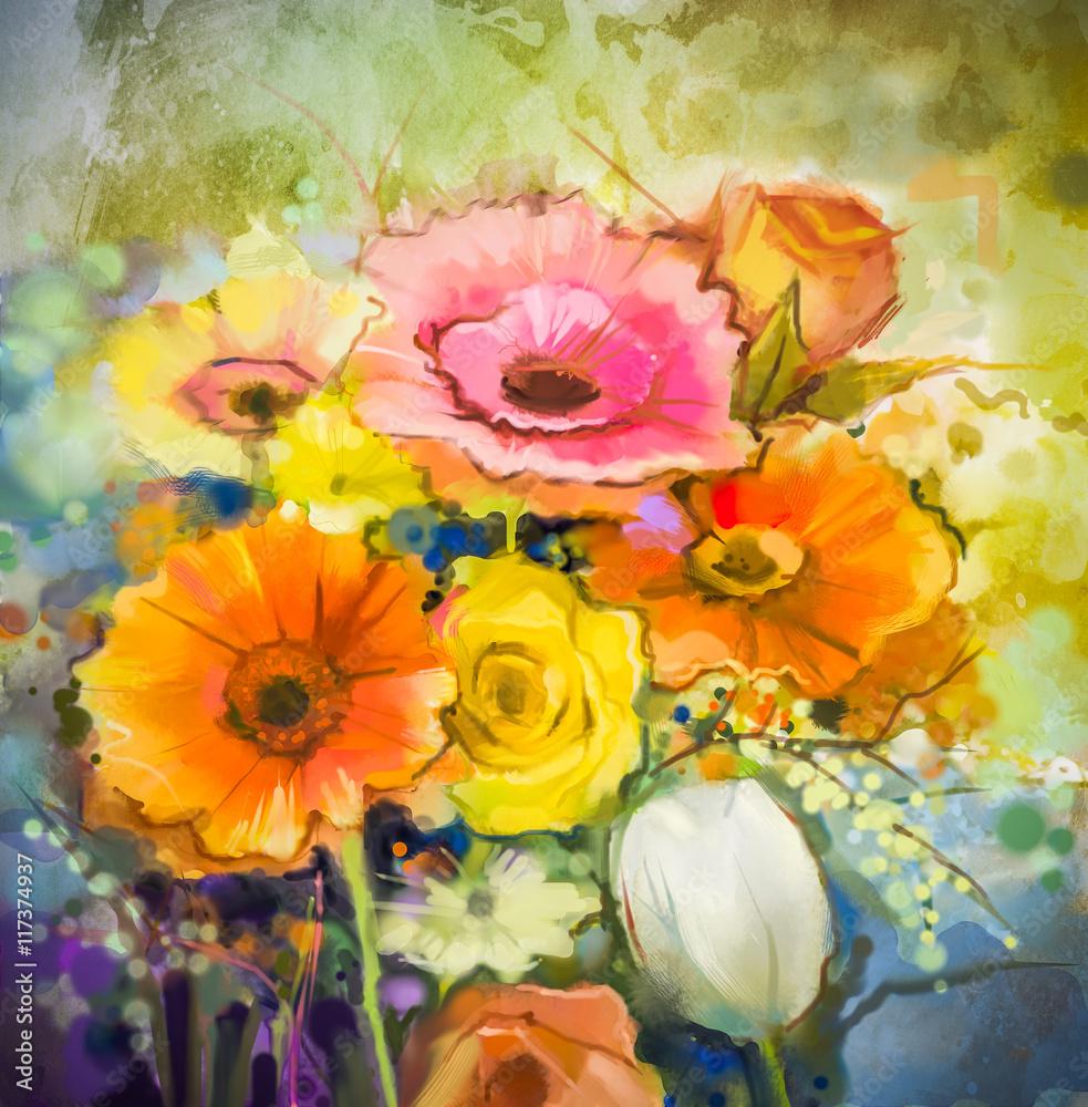 Kwiaty w akwarela. Ręki malują wciąż życie bukiet kolor żółty, pomarańcze, biały gerbera, wzrastali, tulipanowi kwiaty na grunge tekstur tle. Styl Vintage malarstwa. Wiosenny kwiat natura tło