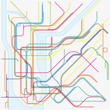 colored subway vector map of New York City - 117375134