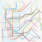 kolorowa mapa wektorowa metra Nowego Jorku - 117375134