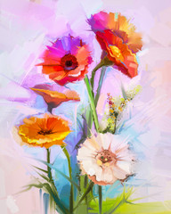 Obraz na Plexi Abstract oil painting of spring flowers. Still life of yellow and red gerbera flower. Colorful Bouquet flowers with light purple, blue color background. Hand Painted floral modern Impressionist style