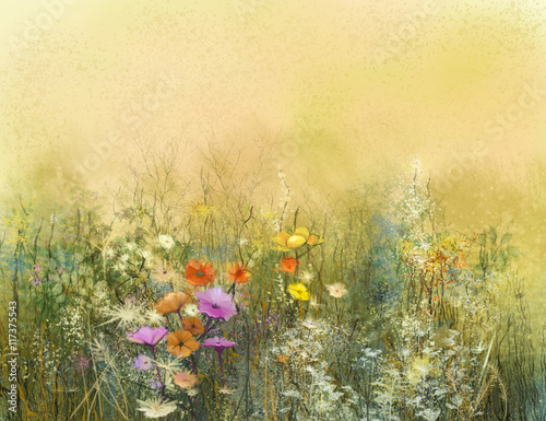 Abstract watercolor painting wildflowers and soft leaves. Vintage watercolor painting flowers in soft color and blur background. Yellow-brown color texture on grunge paper background - 117375543