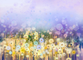 FototapetaAbstract oil painting flowers plant. Dandelion flower in fields. Meadow landscape with wildflower. Purple,Blue sky color with bokeh