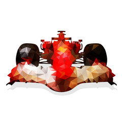 Obraz na Szkle Formuła 1 Abstract red formula racing car. Geometrical illustration. Polyg