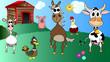 kids cartoon vector illustration of farm animals