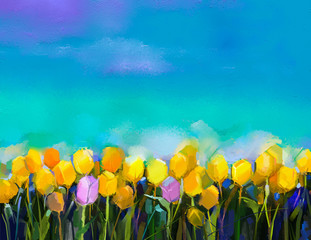 Panel SzklanyOil painting tulips flowers. Hand paint yellow and violet tulip flowers at field with green blue sky background. Spring, summer season nature background. Semi abstract flower painting background