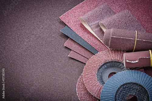 Photo Stack of abrasive equipment on polishing sheet