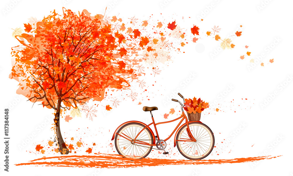 Fototapety, obrazy: Autumn background with a tree and a bicycle. Vector