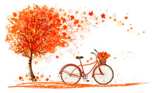 Autumn Background With A Tree ...