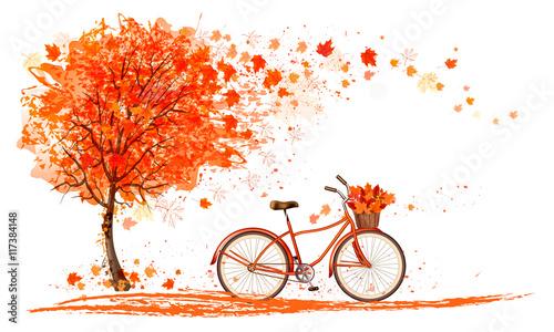 jesieni-tlo-z-drzewem-i-bicyklem