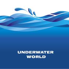 Sea Pattern. Ocean Water Vector Illustration. Blu Surface Motif