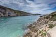 Cave and panorama of Limnionas beach bay at Zakynthos island, Greece