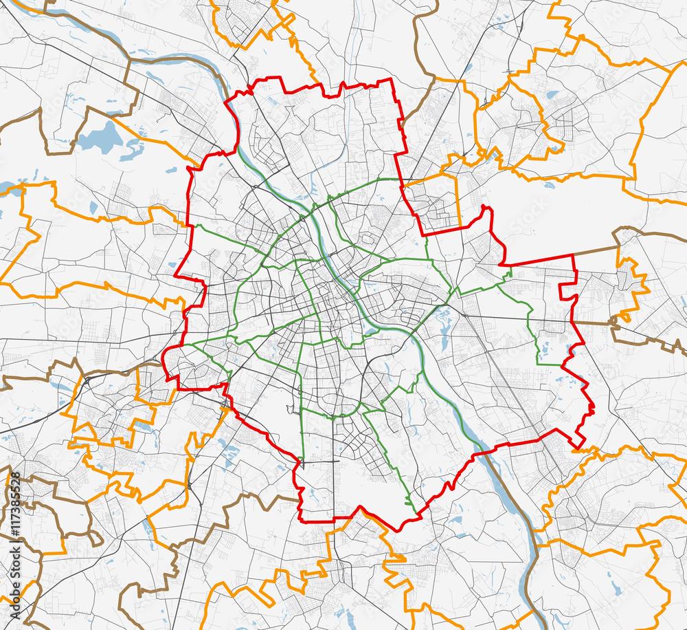 Fototapety, obrazy: Map of Warszawa city. Roads