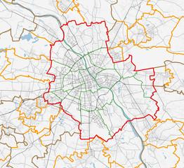 Fototapeta Map of Warszawa city. Roads