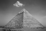 View of the Giza Pyramids. Egypt. Cairo. Black and white photo. - 117387120