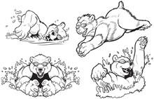 Bears Swimming And Diving Vector Masot Set