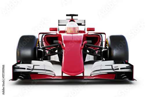 Tuinposter F1 Race car and driver front view on a white isolated background. 3d rendering