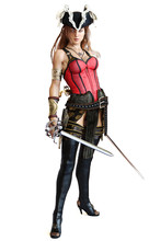 Sexy Pirate Female Posing With Dual Cutlass Swords On An Isolated White Background. 3d Rendering