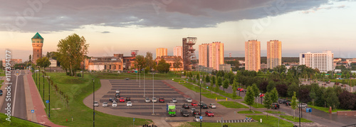 Sunset view of the Katowice city panorama