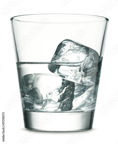 Photographie Glass of vodka with ice on white background