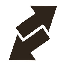 Flat Design Arrows Opposite Ways Icon Vector Illustration