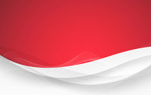 Abstract Red Background With Wave. Vector Illustration