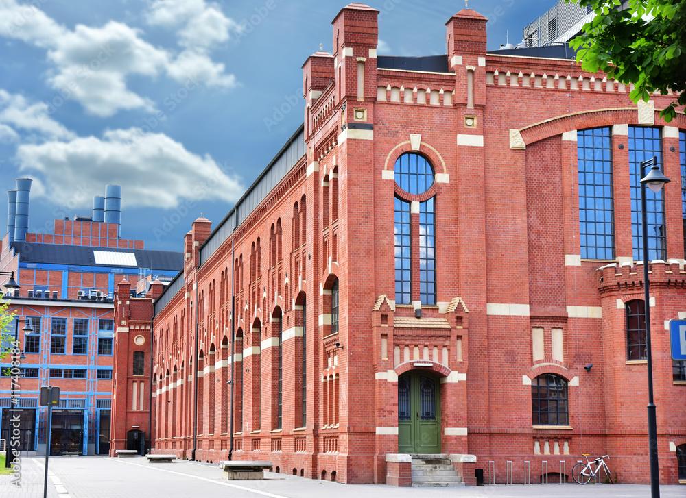 Fototapeta old buildings of CHP in Lodz after revitalization