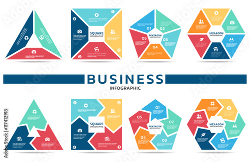 Photo  Block infographic for business (part three , part four, part Five and part six)