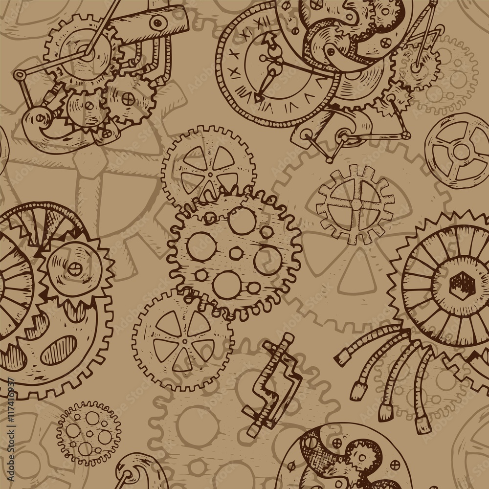 Steampunk seamless background with old cogs and mechanisms