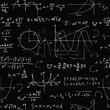 Seamless background with math formulas and graphics on black