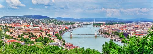 Panorama View on Elisabeth Bridge and Budapest,bridge connecting