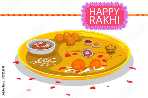 Valokuva  Puja Plate with Rakhi and sweet for Raksha Bandhan