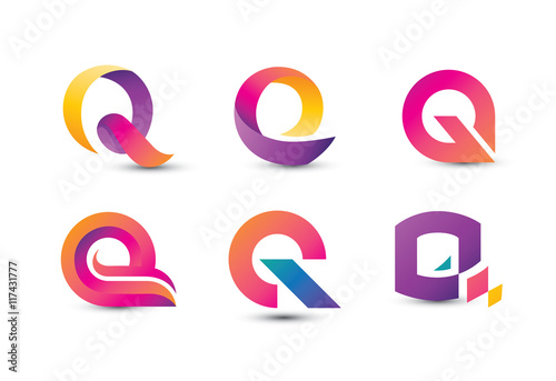 Photo  Abstract Colorful Q Logo - Set of Letter Q Logo