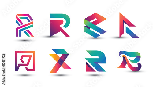 Photo  Abstract Colorful R Logo - Set of Letter R Logo