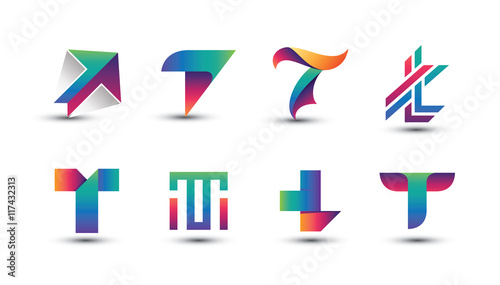 57e3c797bfe1f6 Abstract Colorful T Logo - Set of Letter T Logo - Buy this stock ...