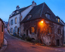 One Of The Oldest Streets In Medieval Town Of Semur En Auxois, Burgundy, France.