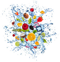 Fototapeta Owoce Fruit in water splash on white background