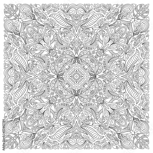 Coloring book page for adult, square form Tableau sur Toile