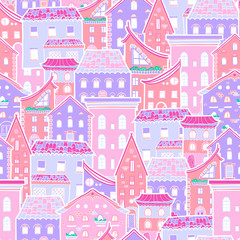FototapetaHand drawn seamless pattern with houses, doodle house vector background, cute colorfull houses, EPS 8