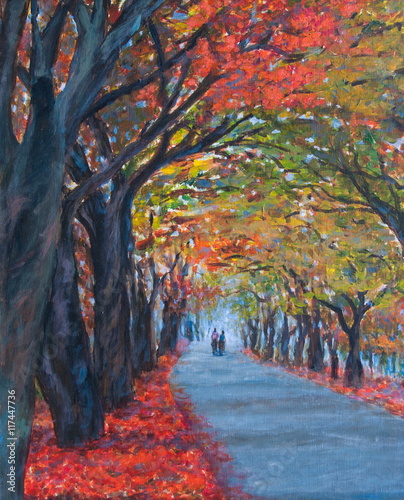 Beautiful acrylic color painting landscape of autumn forest season