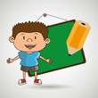 kid with chalkboard and pencil isolated icon design